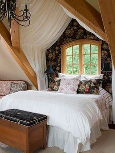 Classic Country is the Interior Design Theme in this Romantic Bedroom. I love the vaulted ceiling and the sheer tent over the bed. Romantic Country Bedrooms, Country Bedroom Design, Beautiful Bedrooms, Bedroom Romantic, Romantic Cottage, Cozy Cottage, Bedroom Designs, Cottage Style, Cozy Bedroom