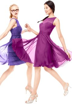 Featuring a mesh illusion neckline and a flirty,  full skirt, this bridesmaid dress was made for dancing. David's Bridal Style F15701 in Blue Violet (left) and Raspberry (right).
