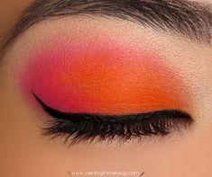 bright orange & punk eye makeup
