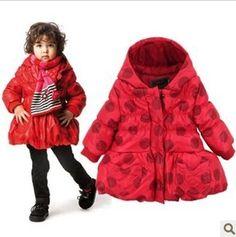 2013 новые осенние и зимние Catimini дети одежда девочек пальто куртки и пиджаки красные точки с капюшоном высокое качество принцесса 3 -10A 1479,48
