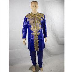 (Free shipping)African Riche Men Bazin Dashiki Africa's Riche Man Costume Bazin Embroidery Design Style Cotton 100% PH38