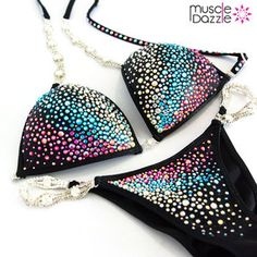Black crystal competition bikini with bright crystals