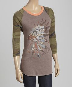 Look at this Cowgirl Tuff Company Brown Rhinestone Raglan Tee on #zulily today!