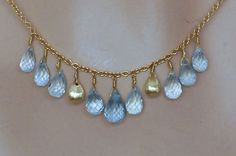 Marco Bicego Blue Topaz 9 Gemstone Necklace 18K Yellow Gold Acapulco New | eBay