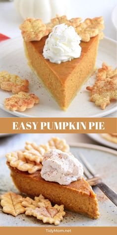 With a rich, spiced pumpkin filling this EASY PUMPKIN PIE recipe is packed with flavor. Thanksgiving pie never looked this good or so easy! 👆 CLICK title or the 👇 VISIT button below PRINT RECIPE at TidyMom.net.