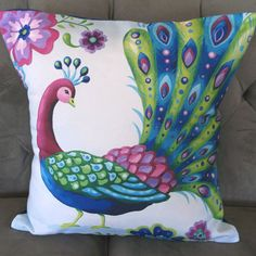 Showy Peacock Pillow Cover by Pictorialboom....I could do something like this with painting on material.