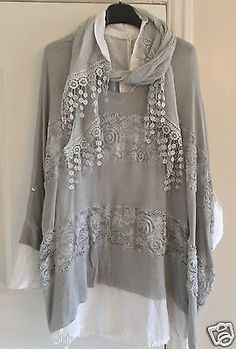 New PLUS Italian Lagenlook 3 Piece WOOL COTTON Shirt Tunic Sequin Tank Top OS