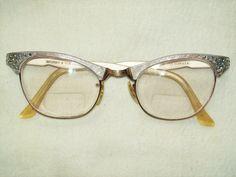 50s cat eye glasses. Vintage eyeglasses, silver with rhinestones, on etsy.com