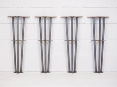 Industrial Table Legs- Set of 4 Industrial Metal Table Legs, Vintage Industrial, Furniture Projects, Custom Furniture, Local Hardware Store, Round Bar, Mounting Brackets, Etsy, Shop