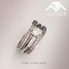 Solitaire engagement ring with nano pink Morganite stones set in matching wedding bands.