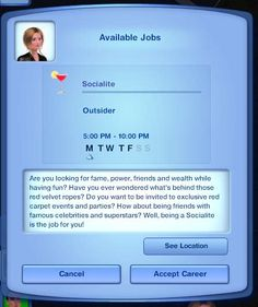 Mod The Sims - The Socialite Career (NRAAS required  for all careers)