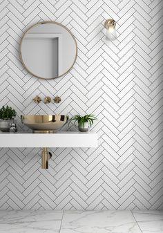 Bathroom trends Herringbone tiles and brass sink. Bathroom trends Herringbone tiles and brass sink. Cheap Bathroom Remodel, Cheap Bathrooms, Small Bathroom, Vitra Bathrooms, Master Bathroom, Modern Bathrooms, Cheap Bathroom Tiles, Small Shower Room, Tiled Bathrooms