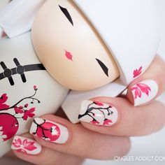 Nail Art Kimmidoll - By Ongles Addict Trendy Nail Art, New Nail Art, Nail Art Designs, Nails Design, Japanese Nail Art, Japanese Doll, Short Nails Art, Manicure Y Pedicure, Flower Nails