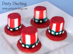 4th of july ideas, patriotic marshmallow hats, red white and blue food, cute 4th of july snacks, 4th of july ideas for kids