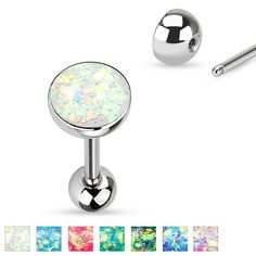 14g Opal Sparkle Tongue Barbell