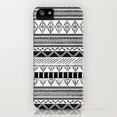 Harry Potter Inspired Tribal Print (Black and White) iPhone & iPod Case by E.M. Blood - $35.00