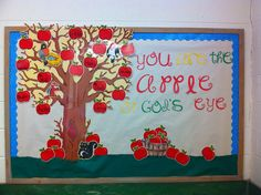 """are the apple of God's eye"""" - Fall Back to school bulletin board!""""you are the apple of God's eye"""" - Fall Back to school bulletin board! Apple Bulletin Boards, September Bulletin Boards, Religious Bulletin Boards, Christian Bulletin Boards, Back To School Bulletin Boards, Preschool Bulletin Boards, Classroom Bulletin Boards, Bullentin Boards, Classroom Door"""