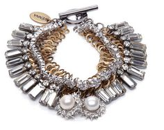 M'O Exclusive: Silver and Gold-Tone Pearl and Swarovski Crystal Bracelet | #jewelry #gifts #gifting