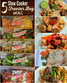 5 Slow Cooker Freeze Bag Meals that you can make under an hour Save time money and effort by preparing your meals ahead of time is happy to bring you money saving tips an. Freezable Meals, Slow Cooker Freezer Meals, Crock Pot Freezer, Healthy Freezer Meals, Dump Meals, Slow Cooked Meals, Freezer Cooking, Crock Pot Cooking, Healthy Recipes