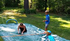 """Summer Hockey Game """"Slip and Slide"""" Version Outdoor Games, Outdoor Activities, Activities For Kids, Family Yard Games, Games For Fun, Wedding Expenses, Hockey Games, Backyard For Kids, Summer Fun"""