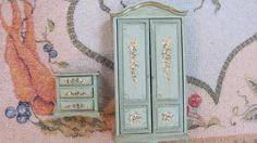 Artisan Dollhouse Miniature Handpainted Wardrobe and Nightstand 1 12 Scale by Helen O'keefe