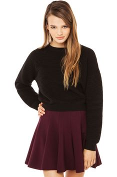 Ribbed Crop Sweater in Black