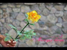 Бокаловидная роза из бисера. Часть 1. Листья. Мастер-класс - YouTube