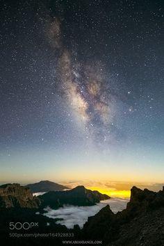 Milky Way at moonset  Milky Way at moonset over Caldera de Taburiente National…