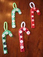 Preschool Christmas Craft--Did this today and they turned out cute!!  But I tied red & white ribbon to the top to hang it instead of the pipe cleaner!