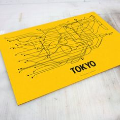 Tokyo Lineposter Screen Print  Yellow/Black by lineposters on Etsy, $28.00