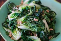 Baby Bok Choy with Ground Chicken Stir Fry (can sub. with other leafy vegetables - spinach, kale)