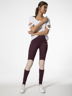 First Place Moto Leggings in Fig by L'urv from Carbon38
