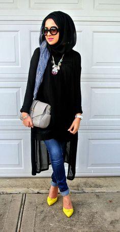 Luv this hijab look.looks so classy.i like her top +jewelry + bag+ jeans+ heel.wanna dressup the same way. Islamic Fashion, Muslim Fashion, Modest Fashion, Hijab Fashion, Fashion Outfits, Fashion Ideas, Fashion Quotes, Fashion Fashion, Sneakers Fashion