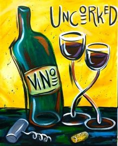 Painting wine bottle and glasses