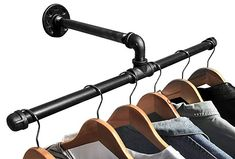 DIY CARTEL Industrial Pipe Wall Mount Clothing & Garment Rack - HARDWARE ONLY - Perfect for Retail Display, Organizing, Laundry (22.5 - Inch),Gun Metal Grey Black