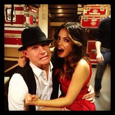 Channing Tatum #ChanningTatum and Jenna Dewan-Tatum #JennaDewan trying to shake a few nerves right before they went on stage to dance and help raise millions at New York City's Carnegie Hall during a special charity concert for the Rainforest