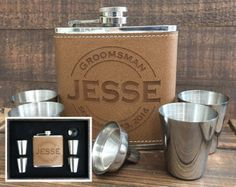 Personalized Flask Set Groomsmen Gift Groomsmen Flask Gift