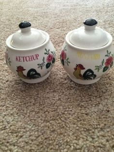 Vintage Rooster And Roses Catchup Mustard Jar Bowls With Dipper
