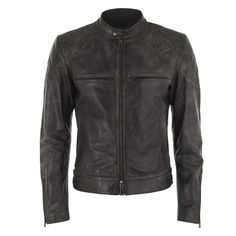 Beckham for Belstaff Men's Stannard Leather Blouson Jacket - Black ($1,965) ❤ liked on Polyvore featuring mens, men's clothing, men's outerwear, men's jackets and black