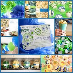 """""""Ready to Pop"""" baby shower color combination for a boy"""