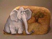 Looks like Horton-would be cute with baby Horton PS Art - Malované kameny Painted Rock Animals, Painted Rocks Craft, Hand Painted Rocks, Painted Stones, Painted Pebbles, Pebble Painting, Pebble Art, Stone Painting, Rock Painting