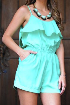 On My Way Up Romper: Mint