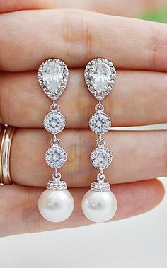Cubic zirconia connectors with Swarovski Pearls Bridal Earrings Wedding Earrings from EarringsNation