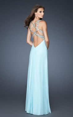 Open Top La Femme 18841 Ice Blue Sequin Open Back Prom Dress [La Femme 18841]