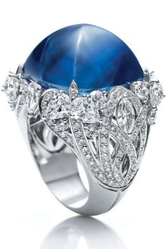 65.68-carat cabochon sapphire ring, 192 marquise cut and pear cut diamonds in platinum / Harry Winston.