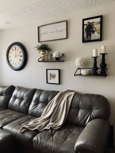 Living Room Clocks Next Beach Chic Ideas Oversized Wall Clock With Floating Shelves Indiana Home Farmhouse Shelf Pictures Half Baths To Tv Basements