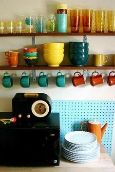 Vintage Kitchen. Fun colors. Mug hooks.