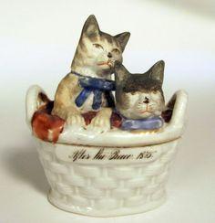 "RARE Antique Continental Porcelain Box Fairing Cats Basket ""After The Race"" 1875 | eBay"