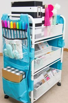 Today it is all about 21 Of The Most Fabulous Raskog IKEA Hacks. Today it is all about 21 Of The Most Fabulous Raskog IKEA Hacks. Planer Organisation, Stationary Organization, School Supplies Organization, Craft Organization, Organization Station, Office Supplies, Art Supplies, Organizing Ideas, Planner Supplies