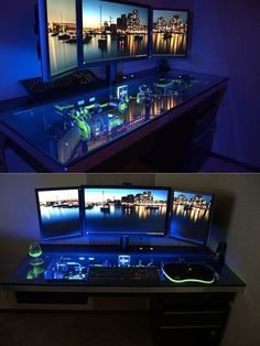 Thanks5 Mind-Blowing Custom Computers You Never Knew Existed - Specs: Looking within the glowing desk, youll find 10TB of storage and a Core i7 processor that can be overclocked to 4.5GHz+. Oh, and Peter says the entire thing is silent as a mouse thanks to its water-cooled system and 17 fans. Jeebus! Peter even tossed in a three-monitor set-up to make this thing a regular Batman command center. - TechEBlog awesome pin
